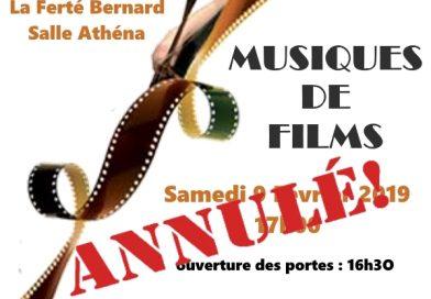 ANNULATION DU CONCERT : Musiques de films, par l'Orchestre Symphonique du Perche Sarthois, le samedi 9 février 2019 à 17h (salle Athéna, La Ferté-Bernard)