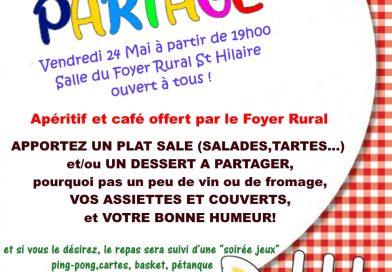 Repas partagé le 24 mai à Saint-Hilaire-sur-Erre