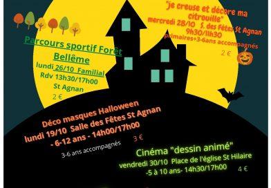 Le programme des activités des vacances de la Toussaint du Foyer Rural de Saint-Hilaire/Saint-Agnan